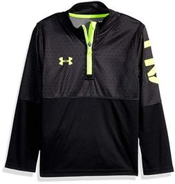 Under Armour Boys' Little Quarter Zip Pull Over Jacket, Blac
