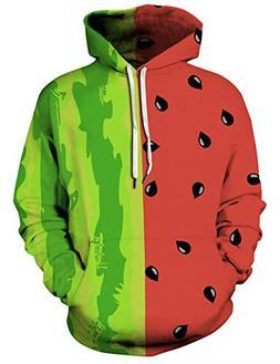 Uideazone Boys Teens Cool Watermelon Graphic Hooded Sweatshi