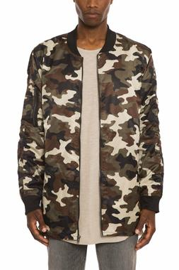 camo nylon split hem extended bomber jacket