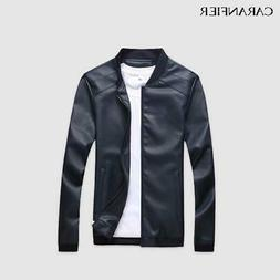 caranfier mens leather jackets men pu faux