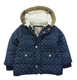 Carter's Girls Navy & Gold Dot Parka Outerwear Jacket Size 2