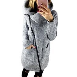 Gillberry Womens Casual Hooded Jacket Coat Long Zipper Sweat