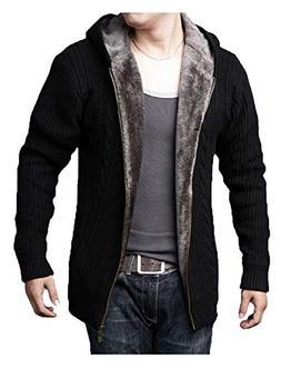 GEEK LIGHTING Mens Casual Knitted Cardigan Sweater Full Zip