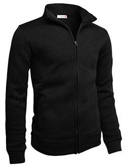 H2H Mens Casual Knitted Zip-Up Hoodie Jacket Napping Long Sl