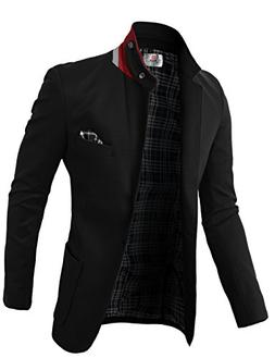 H2H Mens Casual Fashion Slim Fit Blazer Jacket With Snap Col