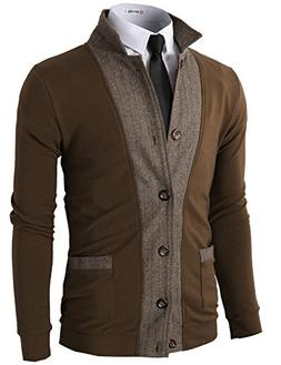 H2H Men's Casual Two-Tone Herringbone Jacket Cardigans Brown