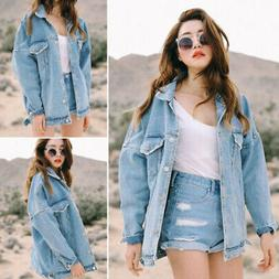 Casual Women's Retro Boyfriend Oversized Denim Jacket Loose