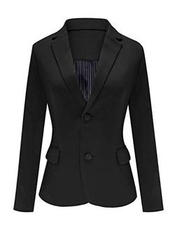 Luyeess Women's Casual Work Office Notch Lapel Pocket Button