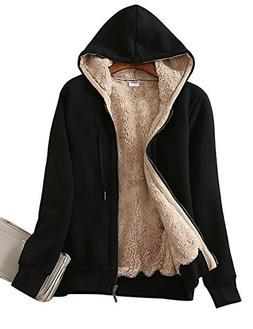 Yeokou Women's Casual Full Zip Up Sherpa Lined Hoodie Sweats
