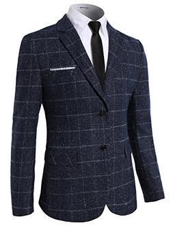 H2H Mens Fashion Check Patterned 2 Button Blazer Navy US L/A