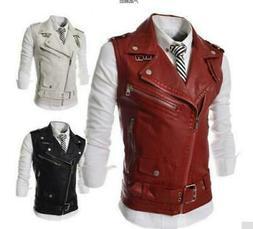 Chic Punk Men's Coats Vest Faux Leather Sleeveless Casual Ja
