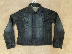 Chico's Women's Jacket Dark Indigo Denim Jean Crystal Night