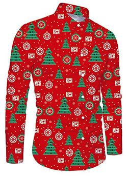 Uideazone Christmas Tree Printed Shirts for Men Casual Long