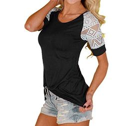 Pengy Clearance Women Blouse Tops Lace Shirt Tee Short Sleev