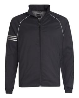 Adidas ClimaProof Men's 3 Stripes Full Zip Jacket - BLACK/WH