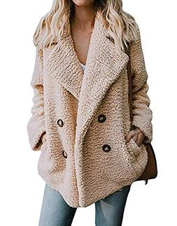 Women's Coat Casual Lapel Fleece Fuzzy Faux Shearling Zipper