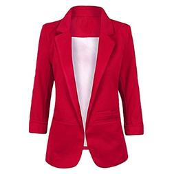 FACE N FACE Women's Cotton Rolled up Sleeve No-Buckle Blazer