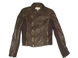 Michael Kors Cropped Leather Jacket - Chocolate Brown - Size