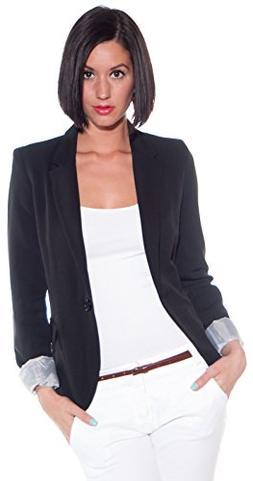 Ambiance Cuffed Sleeve One Button Boyfriend Polyester Blazer