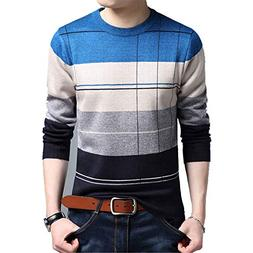 Cyose Fashion Men's Pullover Sweaters Casual Crocheted Strip
