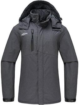 Wantdo Women's Detachable Hood Waterproof Fleece Lined Parka