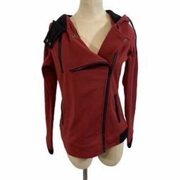 DJT fashion red side zip up hooded sweater jacket women's