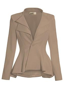 Women Double Notch Lapel Office Blazer JK43864 1073T Beige/K
