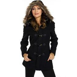 Alpine Swiss Duffy Womens Hooded Parka Fur Trim Wool Coat To