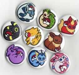 EEVEE POKEMON BUTTON SET - 9pcs  on JACKETS or BACKPACK