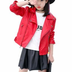 Elife Girls Fashion PU Leather Motorcycle Jacket Children's