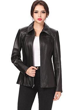 BGSD Women's Ellen Zip Front Lambskin Leather Jacket