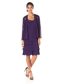 S.L. Fashions Women's Embellished Tiered Jacket Dress,14,Egg