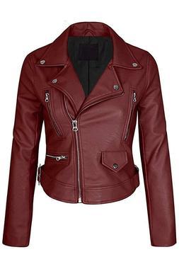 FASHION BOOMY Women's Faux Leather w/Zipper Closure Short Co