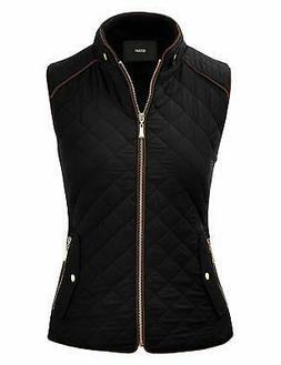 FASHION BOOMY Women's Quilted Padding Vest - Lightweight Zip