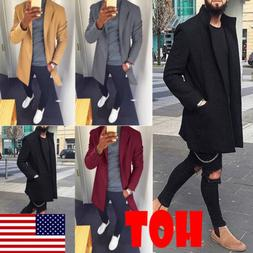 Fashion Men's Wool Coat Winter Trench Coat Outwear Overcoat