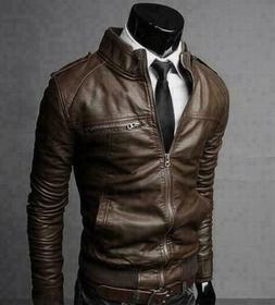 Fashion Mens Faux Leather Jacket Coat stand collar Men Jacke
