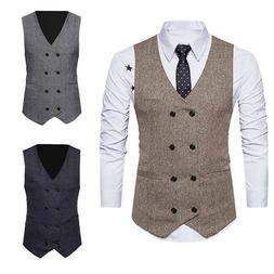 Fashion Mens Jacket Suit Double-breasted Slim Fit Business F