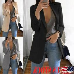 Fashion Women Long Sleeve Cardigan Casual Lapel Blazer Suit