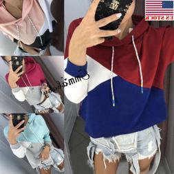 Fashion Women's Slim Stripe Hoodie Hooded Sweatshirt Coat Ja