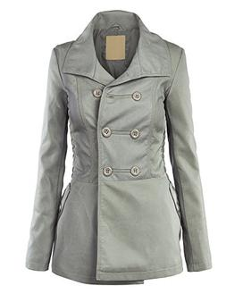 WJC867 Womens Faux Leather Coat L GREY