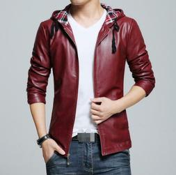 Faux Leather L-5XL Slim Fit Men's Motorcycle Jackets Hooded