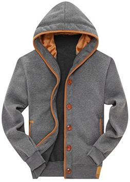 Wantdo Men's Cotton Button Hooded Sweatshirts Casual Jacket,