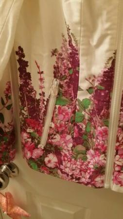 Dennis Basso Floral Print Motorcycle Jacket w/Pockets Pink C