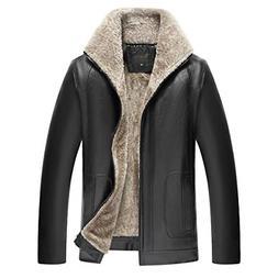 LIERDAR Fur Lined Faux Leather Jacket Winter Thicken Coat St