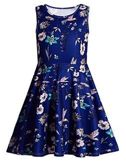 Uideazone Girls Floral Round Neck Sleeveless Dress Cute A-Li