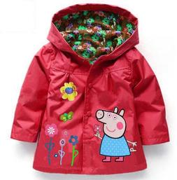 Girls Jackets Coat Spring Autumn Baby Hooded Toddler Cartoon