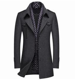 Gray XL Men Coats Jackets Winter Thick Warm Wool Business Wo