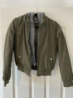 Ambiance Green Women's  Bomber Jacket Size Small Great Con