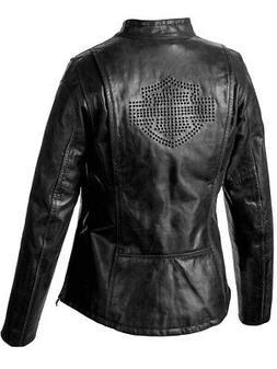 Harley-Davidson Womens Tenacity Studded B&S Black Leather Ja