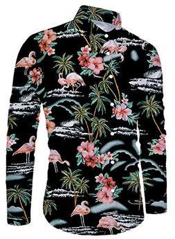 Uideazone Hawaiian Shirts for Men Casual Long Sleeve Button